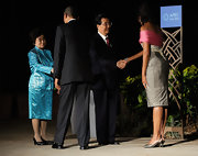 Michelle Obama matched silver slingbacks with her cocktail dress for an elegant finish at the 2011 APEC Summit.
