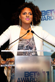 Marsha Ambrosius pulled together her chic look with extra-long dangling earrings during the 2011 BET Awards nominees announcement.