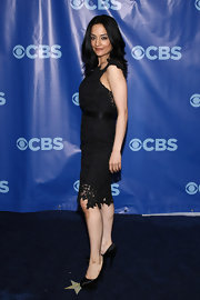 Archie wore a lovely lace cocktail dress for the CBS Upfront event.
