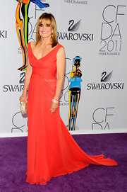 Linda wore a vibrant chiffon evening gown for the CFDA Fashion Awards.