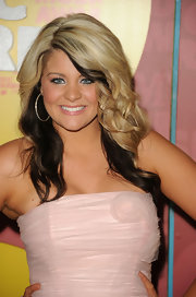 American Idol runner-up, Lauren Alaina wore pave hoop earrings to the 2011 CMT Awards.
