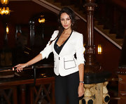 Madalina Ghenea still managed to look stunning in a simple blazer and pants ensemble at the Capri Hollywood Press Conference.