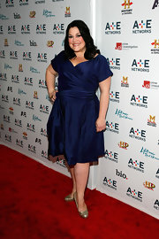 Brooke Elliot wore this playful navy taffeta dress to a presentation in NYC.