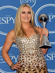 "Lindsey Vonn wore a three-row ""Cushion Chiclet Bracelet"" with her sparkling sequined gown at the ESPY Awards. Dazzling!"