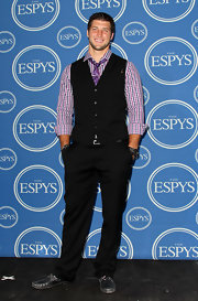 Tim Tebow added some color with this purple tie at the ESPY Awards.