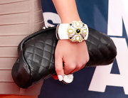 Actress Amanda Bynes wore a Nicholai brass fan ring with black and white cubic zirconia to the MTV Movie Awards.