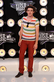 Drake Bell kept his look fun, casual and fresh with this multicolored striped T-shirt.