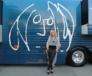 While attending the 2012 NAMM show, Natasha Bedingfield wore a pair of tall black platform wedges with ankle straps.