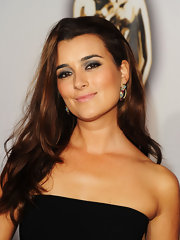 Actress Cote de Pablo added drama to her outfit with intricate jeweled earrings.