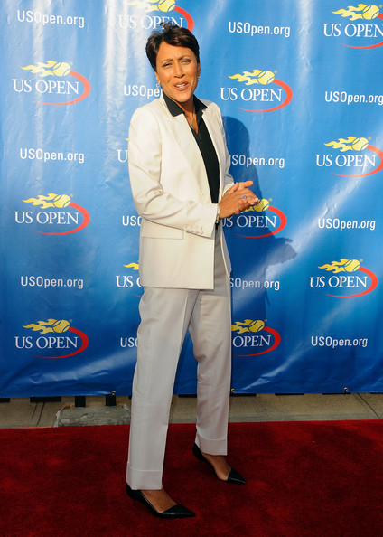 Robin Roberts' black kitten-heeled pumps at the US Open had a chic retro feel.