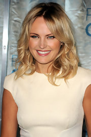 Malin Akerman was all smiles on the red carpet sporting center-parted curls.