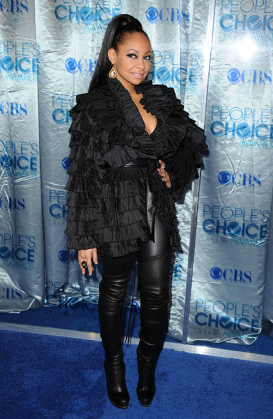 More Pics of Raven-Symone Over the Knee Boots (3 of 8) - Boots Lookbook - StyleBistro [clothing,fashion,outerwear,footwear,electric blue,fur,knee-high boot,jacket,performance,leather,arrivals,raven-symone,peoples choice awards,california,los angeles,nokia theatre l.a. live]