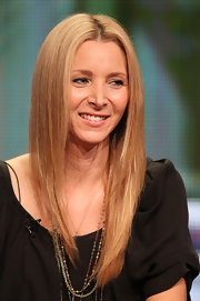 Lisa Kudrow kept her hair sleek straight with a center part at the 2011 Summer TCA Tour.