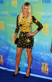 Fergie added subtle sparkle to her star spangled look at the Teen Choice Awards with a black crystal inlaid Power clutch.