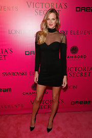 Shannan Click stepped onto the Victoria's Secret pink carpet in an '80s inspired mesh LBD.