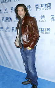 Anson Mount channeled the '90s by pairing his leather jacket with a pair of faded ripped jeans at the Wired Store party.