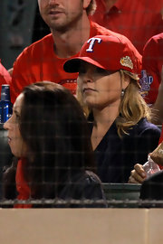 Jenna Bush showed her Texas Rangers' pride with a red logo baseball cap at Game Four of the MLB World Series.