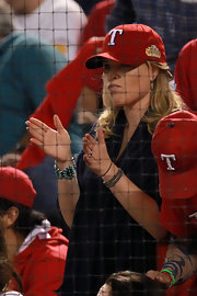 Jenna Bush wore a pretty blue decorative cuff bracelet to Game Four of the MLB World Series.