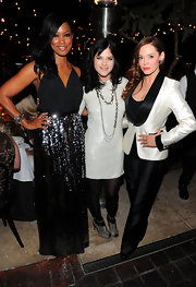 Garcelle Beauvais wore a cuff bracelet in gunmetal vintage filigrees and Swarovski crystal.