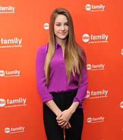 Shailene Woodley looked polished at the ABC Family event in this berry button-down.
