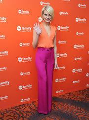 Chelsea Kane color-blocked her outfit with these magenta silk pants at the ABC event.