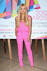 DJ Havana Brown matched her pink suit with a pair of nude pointy pumps.