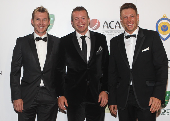 Brett Lee donned a bowtie which added a playful touch to his ensemble a the Allan Border Medal Awards.