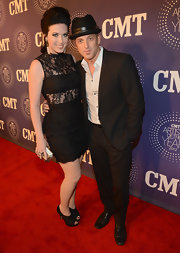 Shawna Thompson went for a black lace-themed ensemble at the 2012 CMT Artists of the Year Awards with these platform peep-toes and LBD.