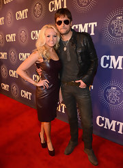 Katherine was all about the leather in this oxblood number at the CMT Artists of the Year soiree.