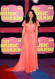 Jordin Sparks' coral dress was one of the prettiest of the night. How can you not love the fluttery off-the-shoulder sleeves and airy ombre chiffon?