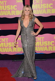 Grace Potter was hardly recognizable in this slinky silver beaded gown. This may look like your run-of-the-mill evening dress from the front, but be sure to check out the back.