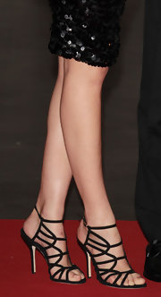 Bianca Balti arrived in style at the 2012 Convivio Charity Gala in a pair of black strappy ankle-strap sandals.