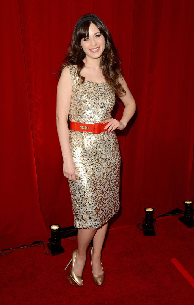 Actress Zooey Deschanel poses backstage during the 2012 ESPY Awards at Nokia Theatre L.A. Live on July 11, 2012 in Los Angeles, California.