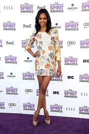 Zoe Saldana looked darling in a floral frock paired with nude platform pumps.