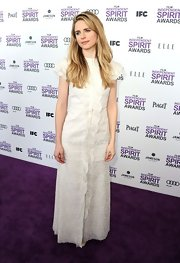 Brit Marling wore this youthful white maxi-dress to the Independent Spirit Awards.