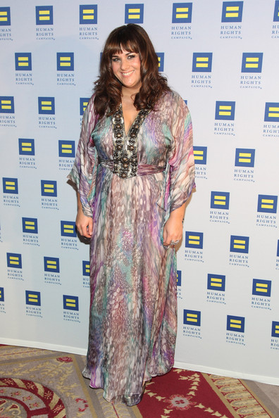 Rumer wore a muted psychedelic print gown to the Human Rights Campaign Gala.