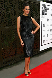 Megan Gale wore this black bead-saturated cocktail dress to the LMFF Launch.