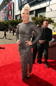 Pink was all smiles at the MTV Video Music Awards in this metallic long-sleeve number with a hip-high slit.