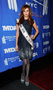 Alyssa Campanella teamed her lovely navy cocktail dress with sparkly peep-toes.