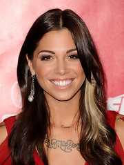 Christina Perri attended the 2012 MusiCares Person of the Year Tribute wearing a pair of large grey freshwater pearl earrings with sterling chain accents and pave diamonds.