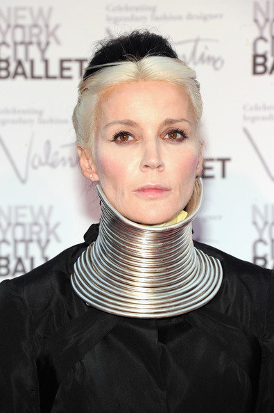 More Pics of Daphne Guinness Evening Dress (1 of 8) - Daphne Guinness Lookbook - StyleBistro [hair,face,hairstyle,blond,neck,chin,eyebrow,head,forehead,fashion,david h. koch theater,new york city,lincoln center,new york city ballet fall gala,daphne guinness]