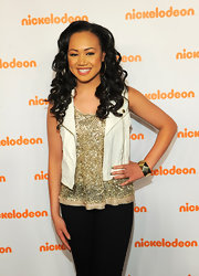 Cymphonique Miller created cool nails for her appearance at the 2012 Nickelodeon Upfront presentation. She swept black on the tips and accented them with gold sequins.