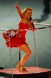 Ginger Spice Geri Halliwell may have stolen the show with her glittery gold booties that shined for the whole Olympic stadium to see.