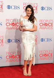 Lea showed off her winning style sense with metallic sandals.