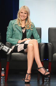 Lucy Punch's teal leather jacket was a totally chic finish to her black-and-white ensemble at the 2012 Summer TCA Tour.
