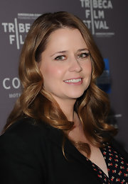 Jenna Fischer wore her hair in long wavy layers at the 2012 Tribeca Film Festival.