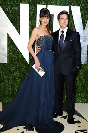Katie Holmeslooked youthful and so very feminine in a deep blue strapless chiffon gown from Elie Saab's Fall 2011 Couture collection.