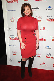 Caroline Manzo oozed '60s chic in a red turtleneck dress and knee-high boots at the 2012 Red Dress Awards.