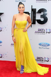 Bridget Kelly chose a flowing white gown with side cutouts for her look at the 2013 BET Awards.
