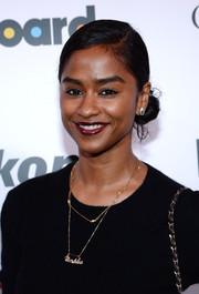Vashtie Kola pulled her hair up in a cute side bun for the Billboard Women in Music event.